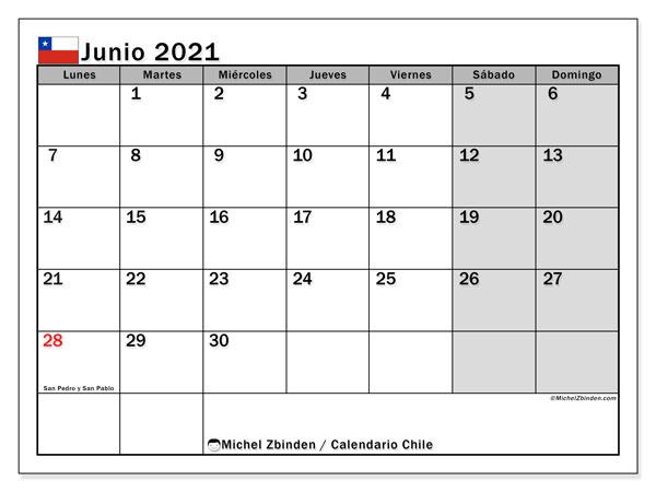 Calendario junio 2021, con días feriados en Chile. Calendario vacaciones y festivos para imprimir gratis.