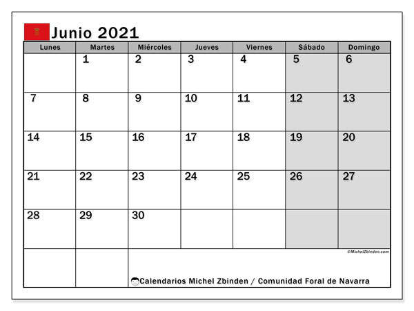 Calendario junio 2021, con días feriados de la Comunidad Foral de Navarra. Calendario vacaciones y festivos para imprimir gratis.