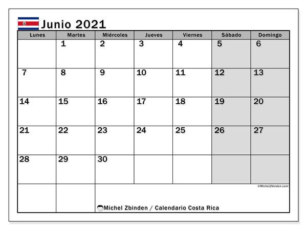 Calendario junio 2021, con días feriados de Costa Rica. Calendario para imprimir gratis con días festivos.