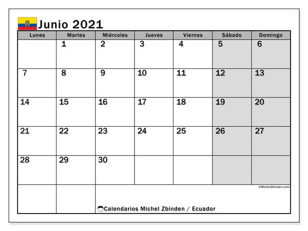 Calendario junio 2021, con días feriados en Ecuador. Calendario para imprimir gratis con días festivos.