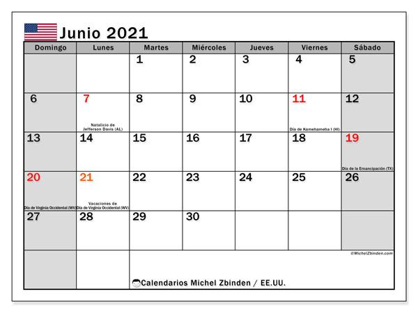 Calendario junio 2021, con días feriados de EE.UU.. Calendario vacaciones y festivos para imprimir gratis.