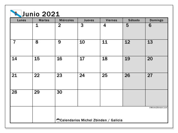 Calendario junio 2021, con días feriados en Galicia. Calendario para imprimir gratis con días festivos.
