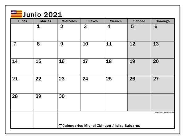 Calendario junio 2021, con días feriados en las Islas Baleares. Calendario vacaciones y festivos para imprimir gratis.