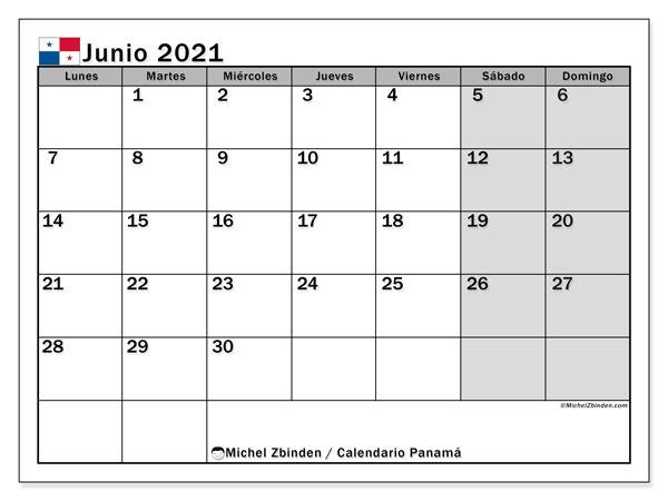 Calendario junio 2021, con días feriados de Panamá. Calendario para imprimir gratis con días festivos.
