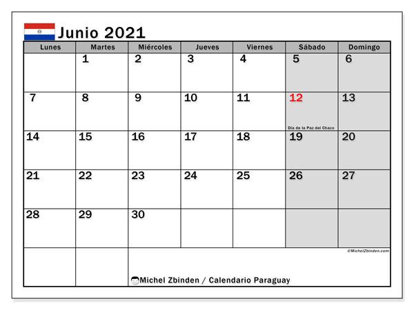 Calendario junio 2021, con días feriados en Paraguay. Calendario vacaciones y festivos para imprimir gratis.