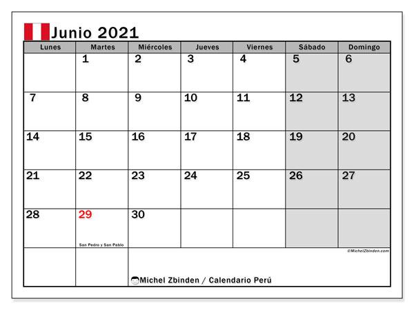 Calendario junio 2021, con días feriados en Perú. Calendario para imprimir gratis con días festivos.
