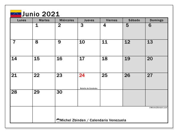 """Calendarios junio 2021 """"Días feriados""""   Michel Zbinden ES"""