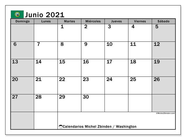 Calendario junio 2021, con días feriados de Washington. Calendario vacaciones y festivos para imprimir gratis.