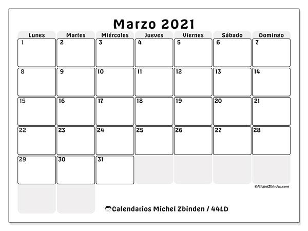 Calendario marzo 2021, 44LD. Planificación para imprimir gratis.