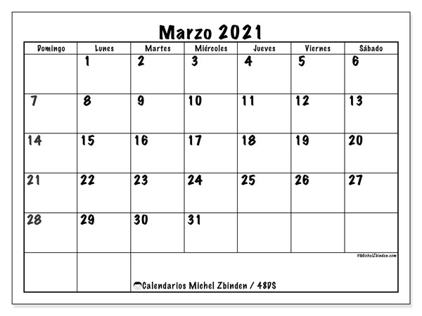 Calendario marzo 2021, 48DS. Planificación para imprimir gratis.