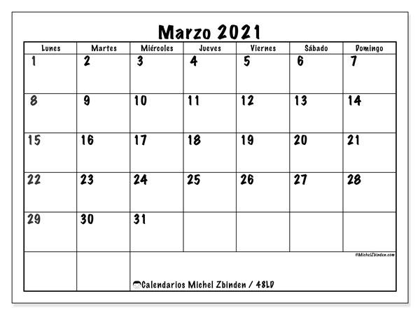 """Calendario """"48LD"""" marzo de 2021 para imprimir   Michel Zbinden ES"""