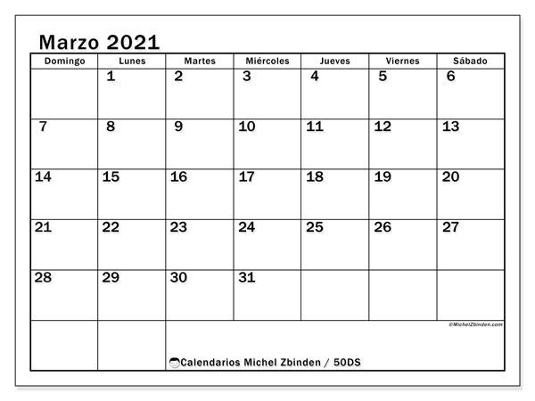 Calendario marzo 2021, 50DS. Calendario gratuito para imprimir.