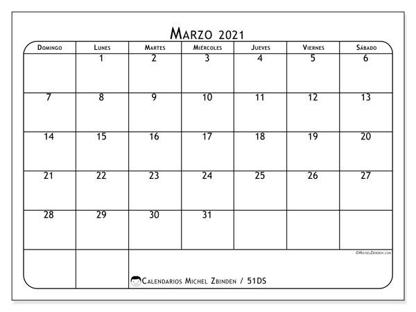 Calendario marzo 2021, 51DS. Calendario para el mes para imprimir gratis.