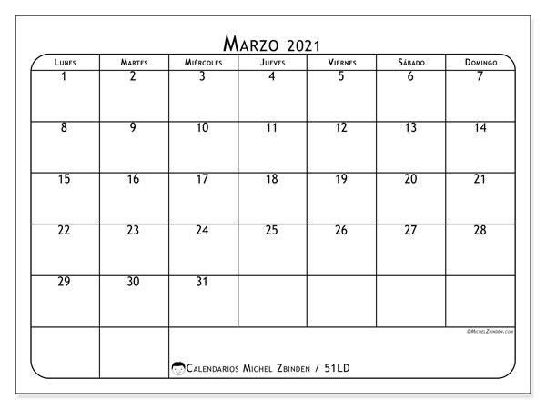 Calendario marzo 2021, 51LD. Calendario para el mes para imprimir gratis.