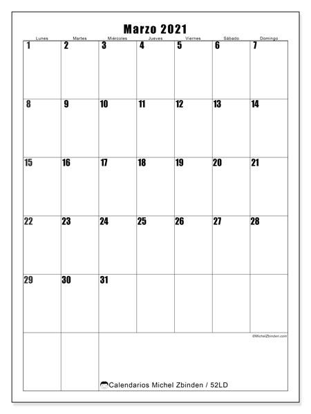 Calendario marzo 2021, 52LD. Planificación para imprimir gratis.