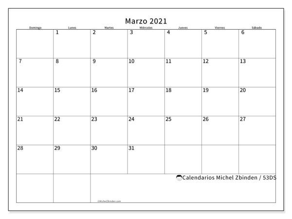 Calendario marzo 2021, 53DS. Planificación para imprimir gratis.