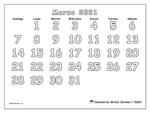 Calendario marzo 2021, 56DS. Calendario mensual para imprimir gratis.