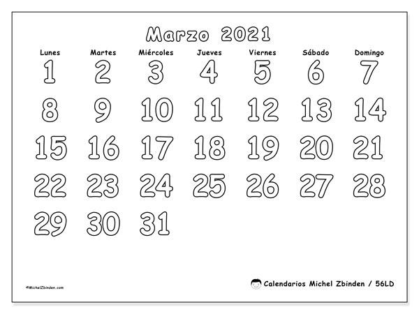 Calendario marzo 2021, 56LD. Calendario para el mes para imprimir gratis.