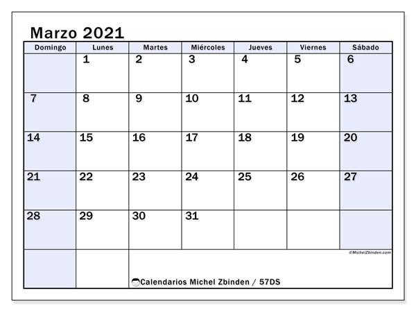 Calendario marzo 2021, 57DS. Calendario imprimible gratis.