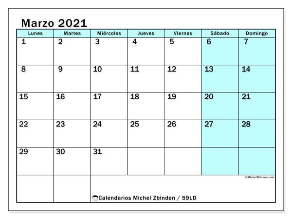 Calendario marzo 2021, 59LD. Planificación para imprimir gratis.