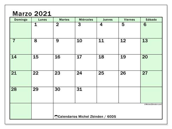 Calendario marzo 2021, 60DS. Calendario para imprimir gratis.