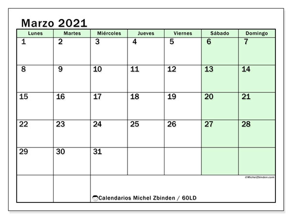 Calendario marzo 2021, 60LD. Calendario imprimible gratis.