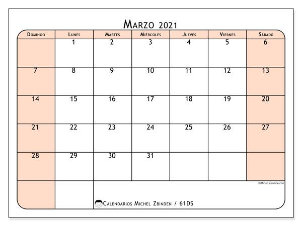 Calendario marzo 2021, 61DS. Calendario para imprimir gratis.
