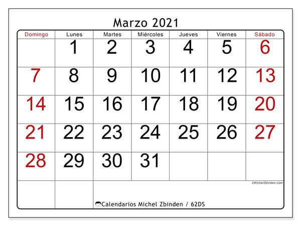 Calendario marzo 2021, 62DS. Planificación para imprimir gratis.