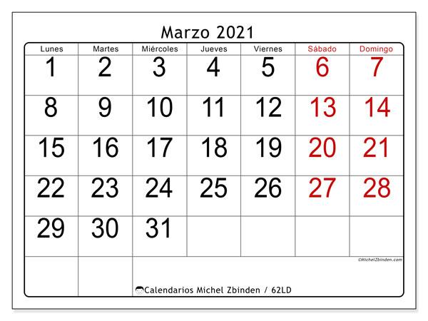 """Calendario """"62LD"""" marzo de 2021 para imprimir   Michel Zbinden ES"""