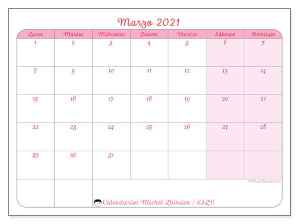Calendario marzo 2021, 63LD. Calendario imprimible gratis.