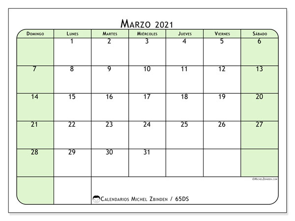 Calendario marzo 2021, 65DS. Almanaque para imprimir gratis.