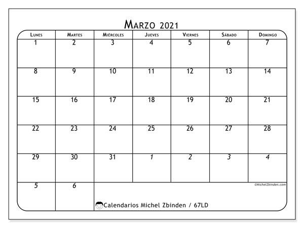 Calendario marzo 2021, 67LD. Planificación para imprimir gratis.