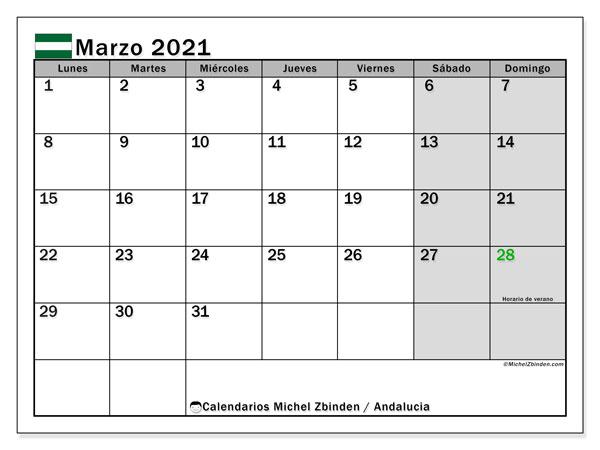 Calendario marzo 2021, con días feriados en Andalucía. Calendario para imprimir gratis con días festivos.