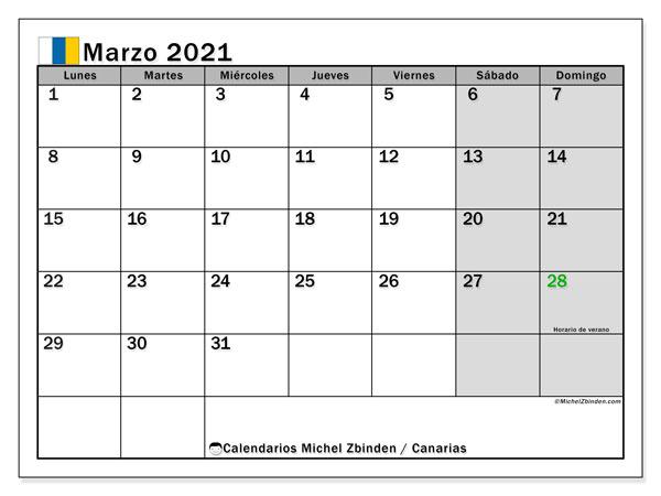 Calendario marzo 2021, con días feriados en las Islas Canarias. Calendario vacaciones y festivos para imprimir gratis.