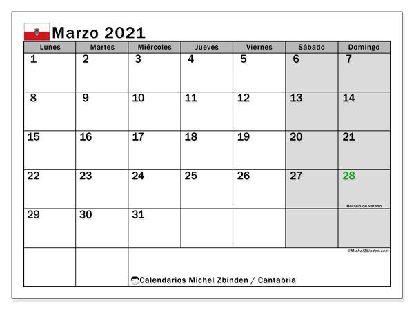 Calendario marzo 2021, con días feriados en Cantabria. Calendario para imprimir gratis con días festivos.