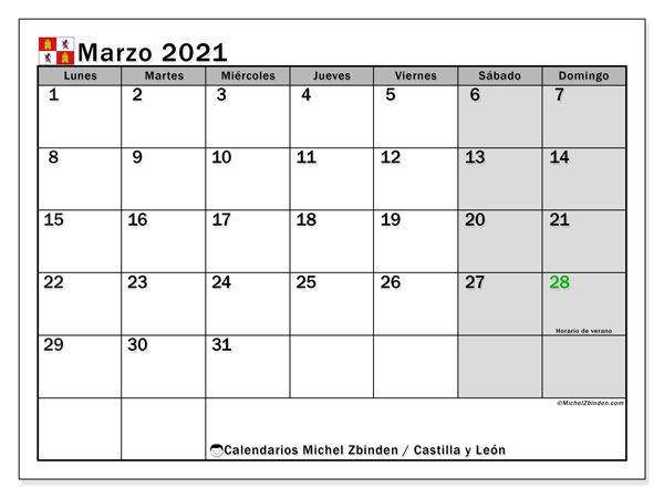 Calendario marzo 2021, con días feriados de Castilla y León. Calendario vacaciones y festivos para imprimir gratis.