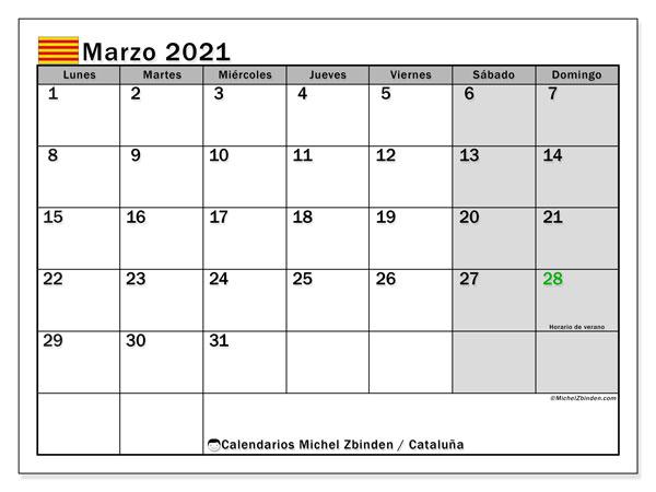 Calendario marzo 2021, con días feriados en Cataluña. Calendario vacaciones y festivos para imprimir gratis.
