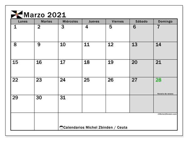 Calendario marzo 2021, con días feriados en Ceuta. Calendario para imprimir gratis con días festivos.