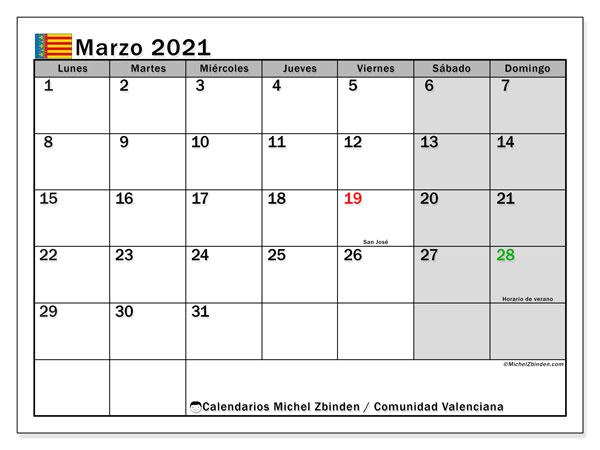 Calendario marzo 2021, con días feriados de la Comunidad Valenciana. Calendario vacaciones y festivos para imprimir gratis.