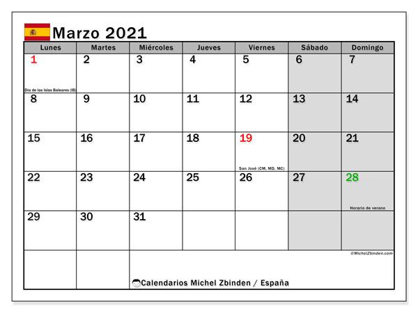 Calendario marzo 2021, con días feriados en España. Calendario vacaciones y festivos para imprimir gratis.