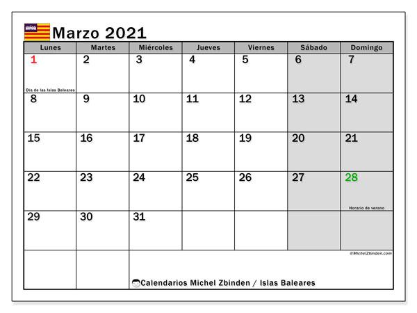 Calendario marzo 2021, con días feriados en las Islas Baleares. Calendario vacaciones y festivos para imprimir gratis.