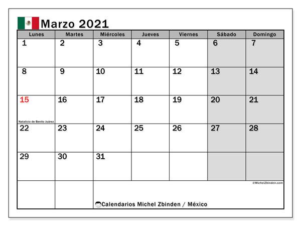 Calendario marzo 2021, con días feriados de México. Calendario vacaciones y festivos para imprimir gratis.