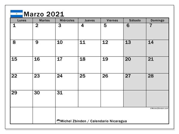 Calendario marzo 2021, con días feriados en Nicaragua. Calendario para imprimir gratis con días festivos.
