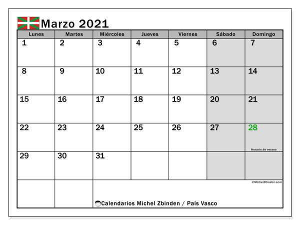 Calendario marzo 2021, con días feriados en el País Vasco. Calendario vacaciones y festivos para imprimir gratis.