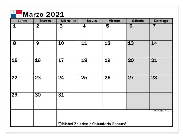 Calendario marzo 2021, con días feriados de Panamá. Calendario para imprimir gratis con días festivos.