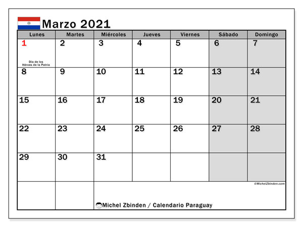 Calendario marzo 2021, con días feriados en Paraguay. Calendario vacaciones y festivos para imprimir gratis.