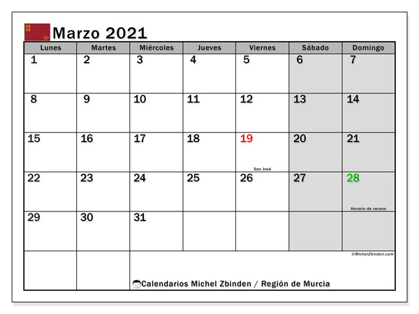Calendario marzo 2021, con días feriados en la Región de Murcia. Calendario para imprimir gratis con días festivos.