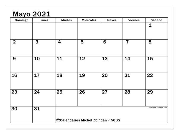 Calendario mayo 2021, 50DS. Calendario para imprimir gratis.
