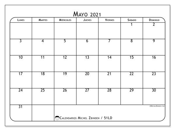 Calendario mayo 2021, 51LD. Planificación para imprimir gratis.