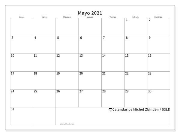 Calendario mayo 2021, 53LD. Almanaque para imprimir gratis.